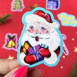 colorful santa single sticker