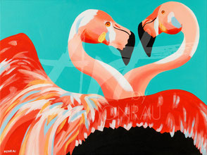 original painting lovebirds flamingos