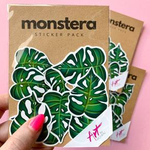 sticker set with monstera leaf sticker