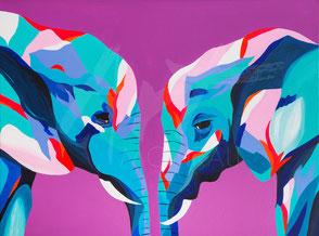 original painting colorful elephants love couple