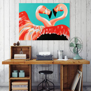 canvas print with colorful flamingo illustration