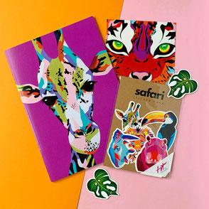 Safari Bundle - big selection of safari themed notebook, art print and stickers