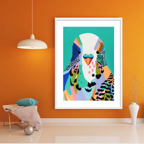 colorful budgie illustration art print