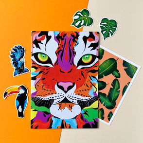 Tropical Bundle of Tiger illustration, monstera and bird sticker