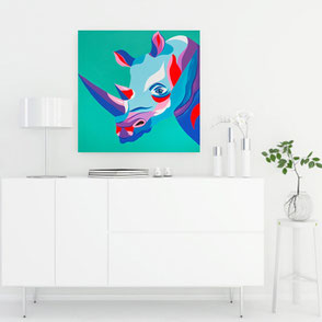 canvas print with colorful rhino illustration
