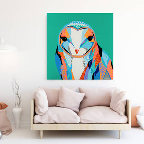 canvas print with colorful owl illustration