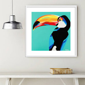 colorful tucan illustration limited edition art print