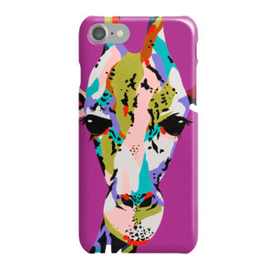 iphone phonecase with colorful giraffe illustration