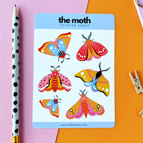 the moth sticker sheet colorful moth illustrations