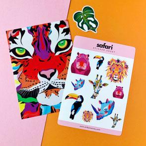Safari Bundle - small selection of safari themed art print, sticker sheet and monstera sticker