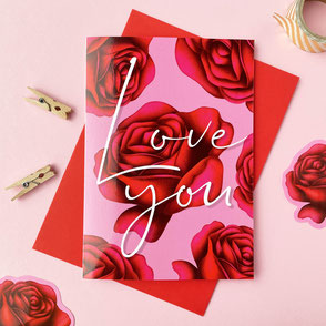 love you greeting card pink with red roses