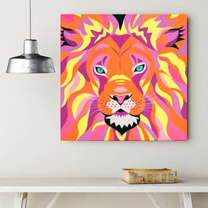 canvas print with colorful lion illustration