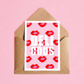 lips with tongue illustration print with delicious text