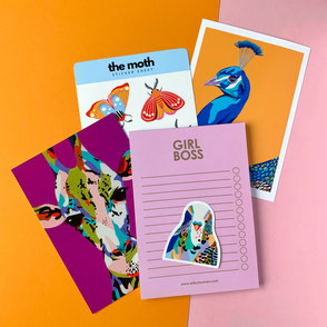set of colorful animal illustrations, sticker and stationery
