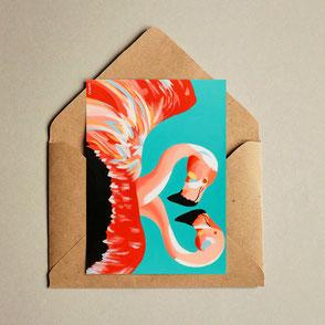 colorful flamingo illustration print