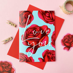 colorful love you greeting card with red roses