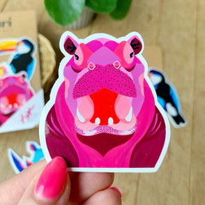 colorful hippo sticker