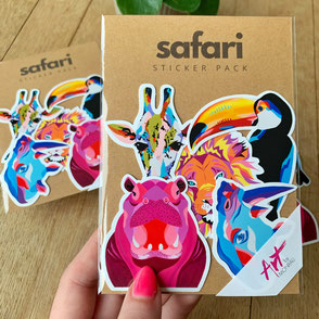 sticker set with colorful animal sticker