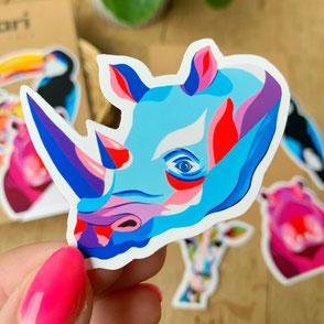 colorful rhino sticker