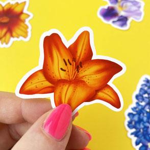colorful orange lilly vinyl sticker