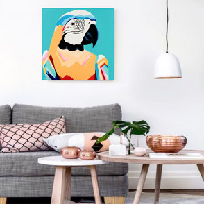 canvas print with colorful parrot illustration