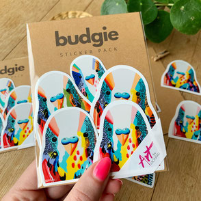 sticker set with colorful budgie sticker