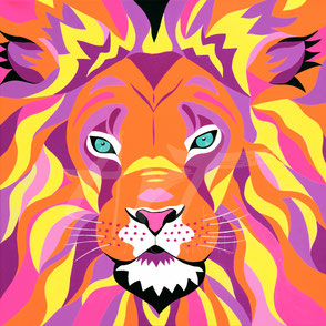 original painting colorful lion