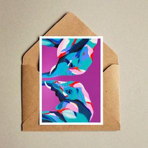colorful elephant illustration print