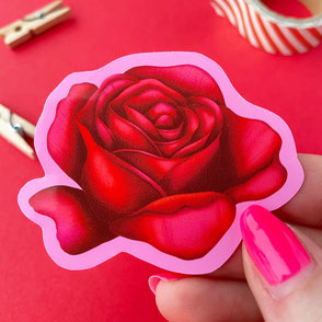 red rose vinyl sticker