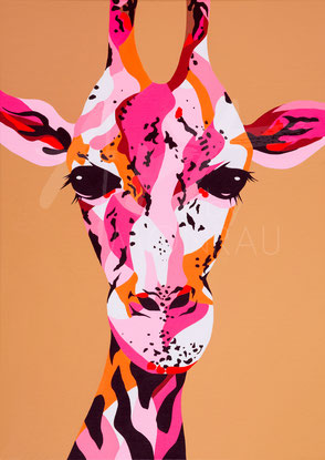 original painting colorful giraffe