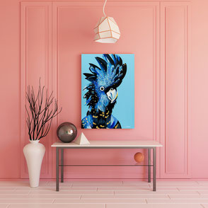 canvas print with colorful cockatoo illustration