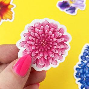 colorful pink flower vinyl sticker
