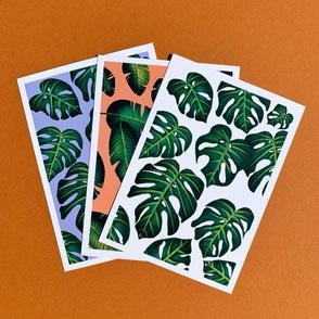 set of three plant leaf illustration prints