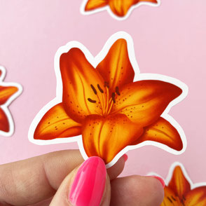 colorful orange lilly vinyl sticker
