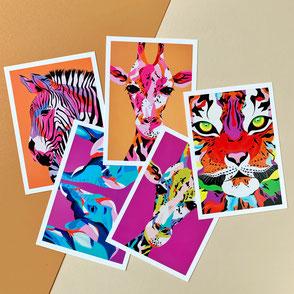 set of five animal illustration prints