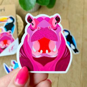 colorful hippo sticker