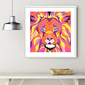 colorful lion illustration art print