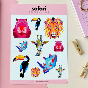 sticker sheet with colorful animal illustrations