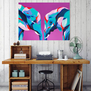 canvas print with colorful elephants illustration