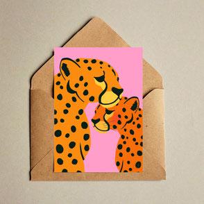 cheetah lovers A6 mini print