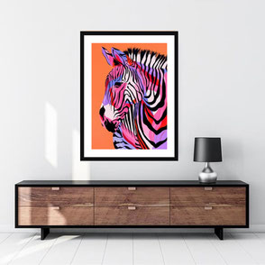 colorful giraffe illustration art print