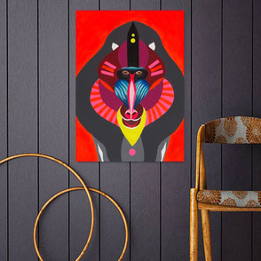 canvas print with colorful monkey illustration