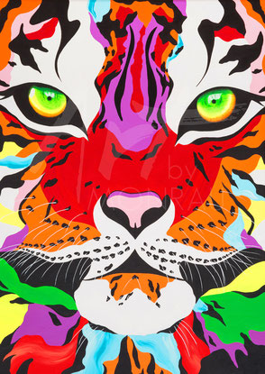 original painting colorful tiger
