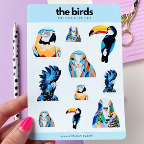 sticker sheet with colorful bird illustrations
