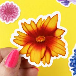 colorful coreopsis flower vinyl sticker