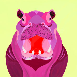 original painting colorful hippo
