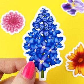 colorful rittersporn flower vinyl sticker