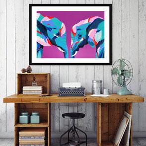colorful elephant illustration art print