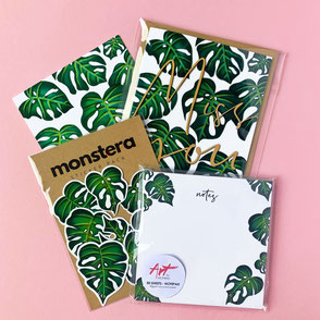 Monstera Bundle - Set of Monstera illustrated greeting card, notepad and sticker