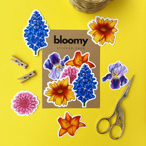 colorful set of 5 vinyl flower stickers